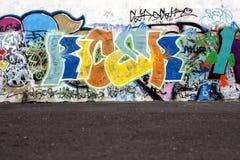 Graffiti and asphalt floor stock photography