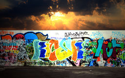Graffiti and asphalt floor in night background stock images