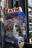 Graffiti on ATM in New York City stock photo