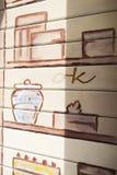 Graffiti auf dem Fensterladen Lizenzfreies Stockbild