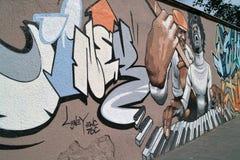 Graffiti auf der Wand. Stockfoto