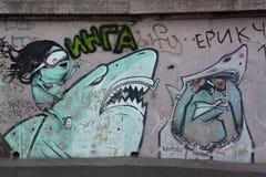 Graffiti auf der Wand Stockfoto
