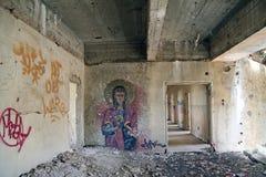 Graffiti auf der Wand in verlassener Stadt von Quneitra Stockbilder