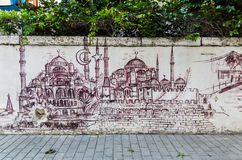 Graffiti auf einer Wand in Istanbul Stockbilder
