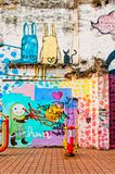 Graffiti auf städtischer Wand in Macau Lizenzfreies Stockfoto