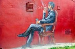 Graffiti auf Wand des Hauses, rotes Yard, Minsk, Weißrussland Stockbilder