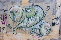 Graffiti avec les chiffres humains Images libres de droits