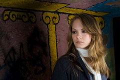 Graffiti backdrop portrait Stock Photo