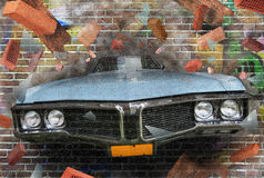 Graffiti. Background color of street graffiti on a brick wall Stock Images