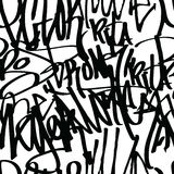 Graffiti Background Pattern. Graffiti background seamless pattern. Vector Tags, writing. Graffiti hand style, old school. Street art texture. Monochrome black Royalty Free Stock Photo
