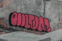 Graffiti backround on the wall of Kaunas old town streets royalty free stock photo