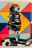 Graffiti of balancing girl Stock Images