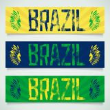 Graffiti banner - Brazil. Graffiti inscription - Brazil, worn and textured with two profiles Indians. Vector eps 10 Stock Image