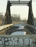 Graffiti Barrier At Closed Bridge Stock Image