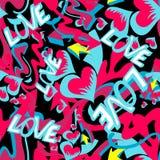 Graffiti barwili serca bezszwowego tła wektorową ilustrację grunge tekstura ilustracja wektor