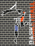 Graffiti basketball players pictures on the walls Royalty Free Stock Photography