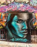 Beautiful woman graffiti in Hosier lane, Melbourne royalty free stock image