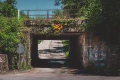 Graffiti bedeckten Eisenbahn-Unterführung stockbild