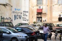 Graffiti in Beiroet van de binnenstad, Libanon royalty-vrije stock fotografie