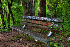 Graffiti bench in the woods Stock Images