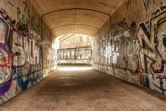 Graffiti in Berlin. Painted walls in the tunnel. Graffiti. Berlin Stock Photography
