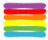 Graffiti bespoten lijnen in zes regenboogkleuren Stock Foto