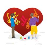 Graffiti on a big heart. Boy and girl make graffiti about love on a big heart Stock Images