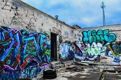 Graffiti bij de bouw van muren royalty-vrije stock fotografie