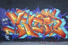 Graffiti bij de buurt van Williamsburg van het Oosten in Brooklyn, New York Stock Afbeeldingen