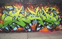 Graffiti bij de buurt van Williamsburg van het Oosten in Brooklyn, New York Stock Foto's