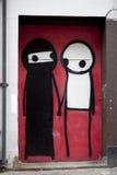 Graffiti bij de oude bouw Royalty-vrije Stock Afbeeldingen