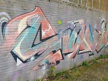 Graffiti bij de spookstad Doel, België stock fotografie
