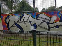 Graffiti bij een vleetpark royalty-vrije stock foto