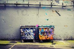 Graffiti bins Royalty Free Stock Images