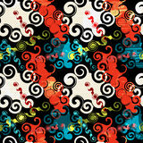 Graffiti on a black background Psychedelic seamless geometric pattern Royalty Free Stock Photography