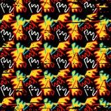 Graffiti on a black background Psychedelic seamless geometric pattern Stock Photo