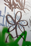 Graffiti black flower. Graffiti, black flower on a gray wall Stock Images