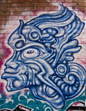 Graffiti blue warrior mask Royalty Free Stock Image