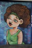 Graffiti on boardedup shop in the rundown shopping arcade St George``Walk in Croydon. St George`s Walk is a partially covered shopping parade in the centre of Stock Photos