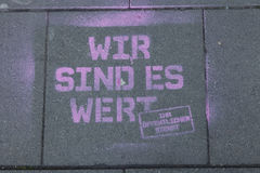 Graffiti on the bottom about the strike in Cologne stock images