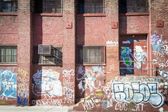 Graffiti on a brick building in Brooklyn Royalty Free Stock Photography