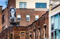 Graffiti on a brick building seen from the High Line in Manhatta Royalty Free Stock Images
