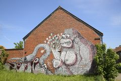 Graffiti on a brick house, Doel, Belgium Stock Image
