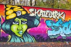Graffiti brick wall art skatepark in germany Stock Photos
