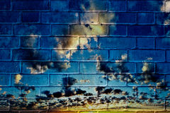 Graffiti brick wall stock illustration