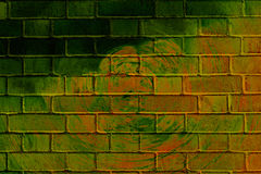 Graffiti brick wall. Colorful abstract graffiti on a brick wall with rings Royalty Free Stock Photo