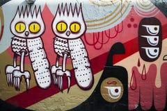 Graffiti brick wall, colorful background Royalty Free Stock Photos