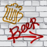 Graffiti. Brick wall. Writing beer. Beer label with an arrow on a gray brick wall Vector image Stock Image