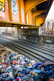 Graffiti on a bridge over railroad tracks in Baltimore, Maryland Royalty Free Stock Photography