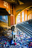 Graffiti on a bridge over railroad tracks in Baltimore, Maryland Stock Image